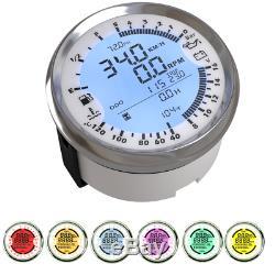 Digital GPS Speedo Tacho Odo Volt Fuel Water Temp Gauge 3Unit 85mm White Dial 1x