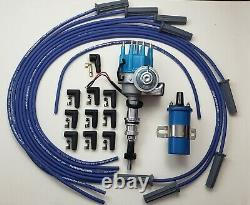 FORD 289 302 BLUE SMALL CAP HEI DISTRIBUTOR + CHROME COIL +8.5mm UNIVERSAL WIRES