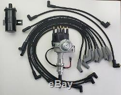 FORD 289 302 SMALL CAP HEI DISTRIBUTOR + COIL + BLACK 8.5mm SPARK PLUG WIRES
