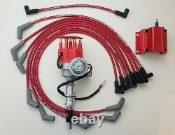 FORD 289 302 SMALL CAP HEI DISTRIBUTOR + RED 50K COIL + 8.5mm SPARK PLUG WIRES