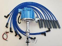 FORD 351C 351M 400 429 460 HEI DISTRIBUTOR + BLUE 8.5mm SPARK PLUG WIRES USA