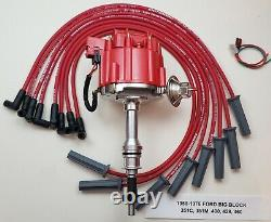 FORD 351C 351M 400 429 460 RED HEI DISTRIBUTOR + 8.5mm SPARK PLUG WIRES USA