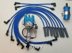 FORD 351C 429 460 SMALL CAP HEI DISTRIBUTOR + COIL + BLUE 8.5mm SPARK PLUG WIRES