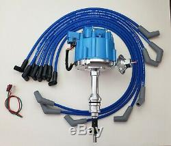 FORD SMALL BLOCK 260 289 302 BLUE HEI DISTRIBUTOR + 8.5mm SPARK PLUG WIRES USA