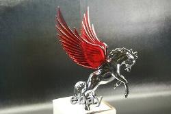 Flying Stallion 40's 50's Hood Ornament Custom Hot Rod Truck Red Wings