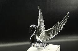 Flying Swan 40's 50's Hood Ornament Custom Hot Rod Truck Clear Wings Purple LED