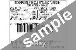 Ford Data Sticker Pillar VIN Tag Dash ID Door Jamb Decal Certification Label