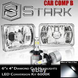 H4651 H4652 H4666 H4656 Head Light Diamond Glass Housing Lamp Chrome 4x6 LED A