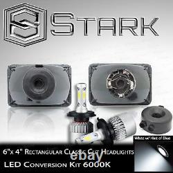 H4651 H4652 H4666 H4656 Head Light Glass Housing Lamp Chrome 4x6 LED Kit (A)