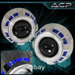 Headlight Retro Fit Projector Bi Xenon Shroud Ccfl Halo Ring 2.5 Hid Blue White