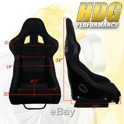 Light Weight Black Bucket Racing Seats Cloth Fiberglass + Mount Sliders Rail