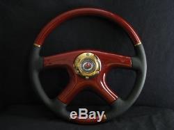 New Raptor 15 Black Leather Gold Trim Wood Grain Steering Wheel