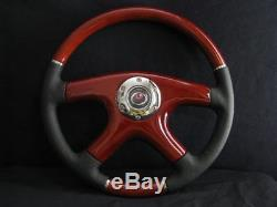 New Raptor 15 Black Leather Wood Grain Steering Wheel