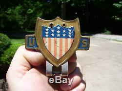 Original 1940s rare Accessory vintage License plate topper US FLAG GM Ford Chevy