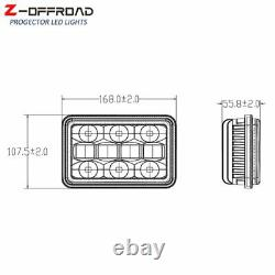 Pair 4x6 Truck LED Headlight DRL Sealed Beam with Halo Ring Turn Signal Light
