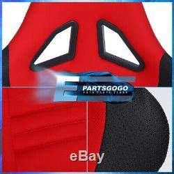 Pair Of Red Fiberglass Cloth Racing Bucket Seats + 2X 4 Point Racing Seat Belt