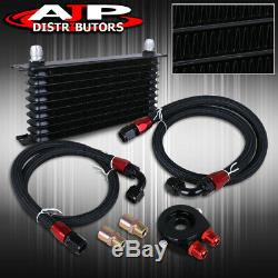 Performance Oil Cooling Cooler Adapter Relocater Filter Kit Ss Lines Kit Black