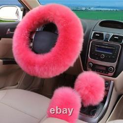 Pink Wool Fur Car 2 Front Seat Cover+Steering Wheel/Handbrake/Gear Shift Covers