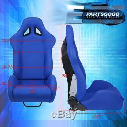 Reclinable Blue Bucket Racing Sport Seats + Slider Bottom Mount Rail Pair Set