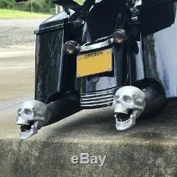Set Of 2 Skull Exhaust Muffer Tips fit harley hot rods street rods motorcycle V8