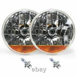 Street Hot Rat Rod 7 Tri Bar Blue Dot H4 Headlights PAIR Amber Turn Signals 12v