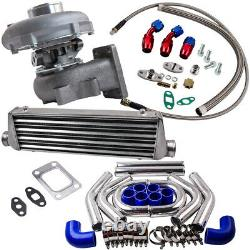 T3/T4 T04E Universal Turbo 0.63 A/R WithOil Line+Intercooler +Piping Pipe Kits