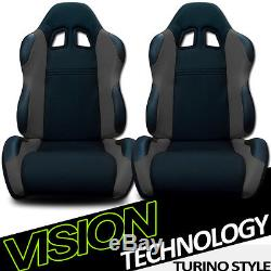 TS Sport Blk/Gray Cloth Fabric Reclinable Racing Bucket Seats withSliders Pair V10