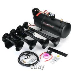 Train Horn Kit Loud System 4 Trumpets 1G 180 PSI Air Tank Compressor Car Truck