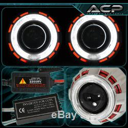Universal 2.5 Bi Xenon Headlights Retrofit Projector Dual Ccfl Halo Ring Hid H1