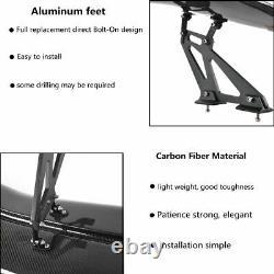 Universal 57'' ABS Real Carbon Fiber Car Racing 3D GT Rear Trunk Spoiler Wing