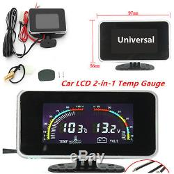 Universal Car 2 in 1 LCD Digital Display Voltmeter Gauge/ Water Temp Temperature