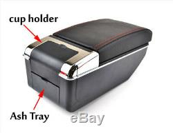 Universal Dual-decker Car Center Console Armrest Box PU Leather Storage Cup Hold