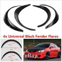Universal JDM Fender Flares Wheel Arches 4Pcs Wide Body Set Polyurethane Black