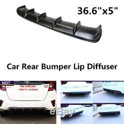 Universal Matte Black ABS Rear Curved Addon Bumper Lip Diffuser 6Fin For Car SUV
