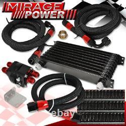 Universal Motor Engine High Flow Oil Cooler Kit Silver With Filter Relocator Black