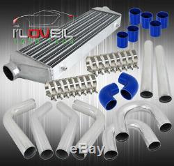 Universal Turbo 31 Intercooler With 2.5 8Pc Polish Aluminum Piping U-Pipe Kit