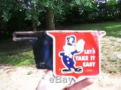 VINTAGE 1940'S FORD LETS TAKE IT EASY POLICEMAN LICENSE PLATE TOPPER auto part