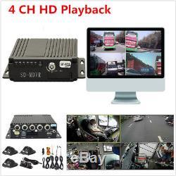 Vehicle Car Mobile DVR 4CH Audio/Video Recorder Remote Control SD +4 CCD Cameras
