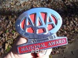 Vintage 1950s chrome AAA award auto emblem badge gm ford chevy rat rod pontiac