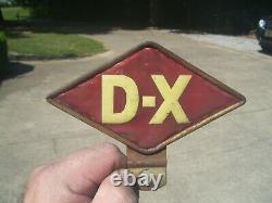 Vintage 50s D-X gas oil station auto License plate Topper Ford gm service chevy