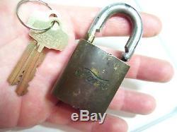 Vintage Ford green script emblem brass padlock lock original parts auto tool