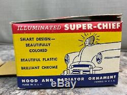 Vintage Nos 1950 Super Chief Indian Illuminated Motorcycle & Car Hood Ornament