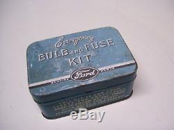 Vintage nos 40s Ford emergency Bulb & fuse kit tin box can head tail lights lamp