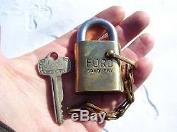 Vintage original rare 60s Ford brass padlock Spare tire lock promo sandusky key